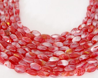 Strand Glass Beads Oval 4 Sided  Strawberry Red White Swirl Size 13 x 6.5mm QTY 24 beads