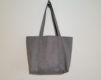 Tote Bag / Upcycled / Gray Woven / Quilted