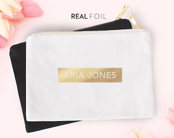 Foil Name Pouch   Carry All   Pouch   Cosmetics Pouch   Makeup Bag   Zipper Pouch   Gold Foil   Silver Foil   Personalized Name