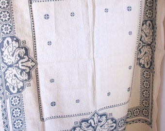 Vintage hand embroidered linen tablecloth square