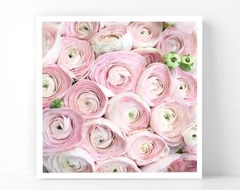 Paris Photography - Ranunculus Bouquet, 5x5 Paris Fine Art Photograph, French Home Decor, Wall Art, Paris Gallery Wall