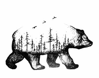 Bear Art Print - Wall Art - Decor - Animal Print - Adventure Print - Minimalist Art - Gift - Home Art