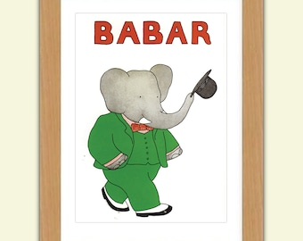 Babar A3 Satin Luxury Print reproduction Illustration - Jean de Brunhoff No.3