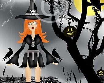 Halloween Art, Halloween, Illustration, Digital, Black, Gray, Wendy Witch, Moon Shadows, Illustration 8x10