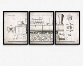 Trains Vintage Print Set of 3 - Steam Engine Print Set - Trains Poster - Trains Picture - Locomotive Art - Children Room Decor - Train Art