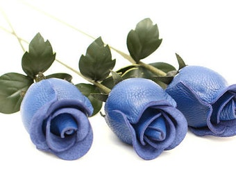 3 leather rose blue bud bouquet third Anniversary wedding gift Long Stem leather Flower Valentine's 3rd Leather Anniversary Mother's Day