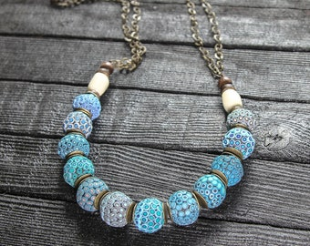 Turquoise Necklace Long necklace boho Long necklace beaded Statement Necklace Boho Jewelry Blue Beaded Chain Necklace