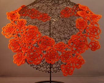 Orange Floral Tatted Lace Necklace