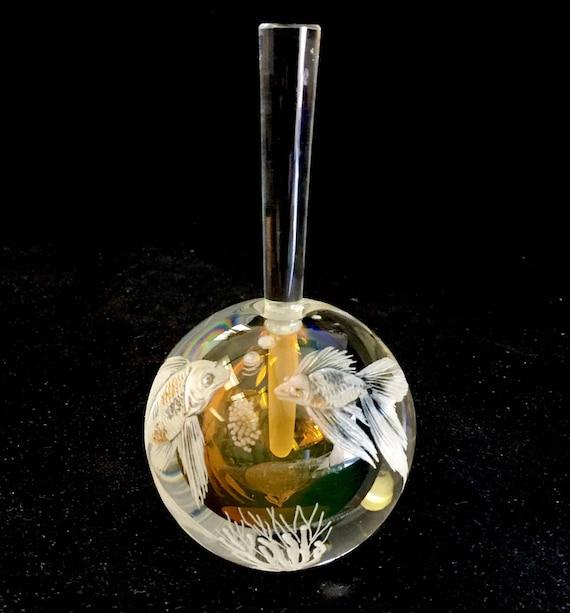 Hand Engraved Goldfish Perfume Bottle, Perfume Bottle Vanity, Goldfish, Vanity Collection, Mothers Day gift, Perfume Bottle, etched