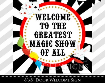 Magic Party Welcome Sign, Magician Birthday Party, INSTANT DOWNLOAD