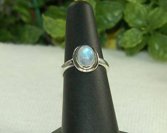 Moonstone Ring, Size 7, Blue Glow, Sterling Silver, June Birthstone, Natural Moonstone, Rainbow Moonstone, Blue Moonstone