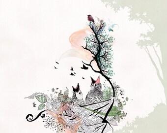 Love birds art,  birds drawing, Pen and ink art, Bird illustration, Birds nest