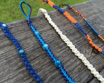 Square-Knotted Cord Bracelets and Anklets (Beaded and Unbeaded)