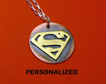Superman necklace for men dad mom Super Mom Supermom, personalized, brass and copper, geekery