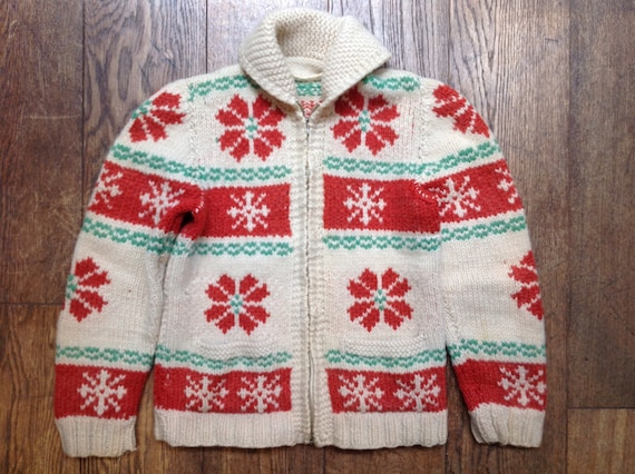 "Vintage 1969s 60s handknitted red white green wool shawl collar cowichan sweater cardigan 35"" chest snowflake pattern Lightning zipper"
