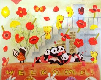 Red poppy stickers - animal stickers - kawaii stickers - ginkgo leaf stickers - poppy flowers - flower stickers - cute cartoon stickers