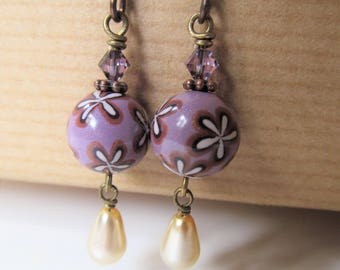 Pearls and Purple Polymer Clay and Swarovski Crystal Beaded Niobium Earrings