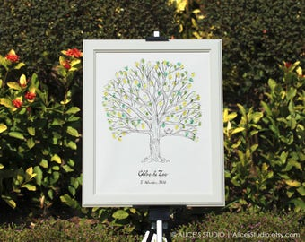 Custom Hand Drawn Fingerprint Tree Wedding Guest Book Alternative - Lovebirds Thumbprint Guestbook - Original Art - Free Gift with Purchase