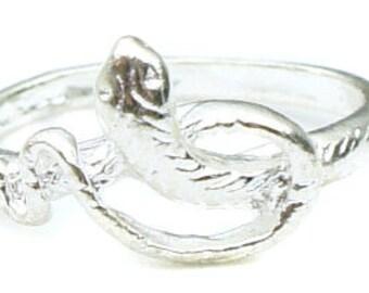 Nichoir bijoux - courtes bague serpent en argent