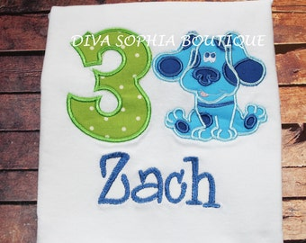 Blue's Clues with Number Boysuit - T-shirt -Birthday - Embroidered