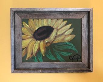 "Sunflower 9x12"" acrylic painting in barn wood frame"