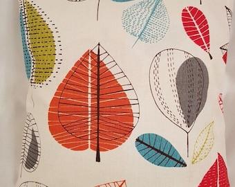 "14"" 16"" 18"" 20"" New Cushion Cover Maple Cinnamon Red Green Leaf Print Handmade 100% Cotton"