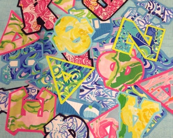 Designer Lilly Pulitzer standard or greek iron on letters and numbers