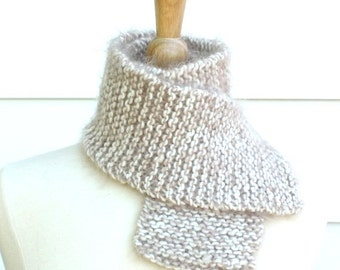 beige knit scarf, champagne scarf, warm winter scarf, warm fuzzy scarf, traditional scarf, warm wool scarf,beige wool scarf,fuzzy knit scarf