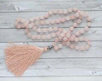 Pink Mala necklace / Long rose quartz necklace / 108 beads  / Long pink tassel necklace / Rose Quartz Mala  / Hand knotted quartz necklace