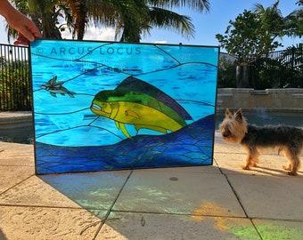 Stained Glass Window Panel: Dolphin, Mahi Mahi, Dorado (Large)