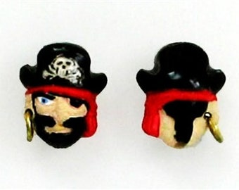 "Pirate Captain Ceramic Beads, 1/2"", Choice of Lot Size & Price, Hand Painted"