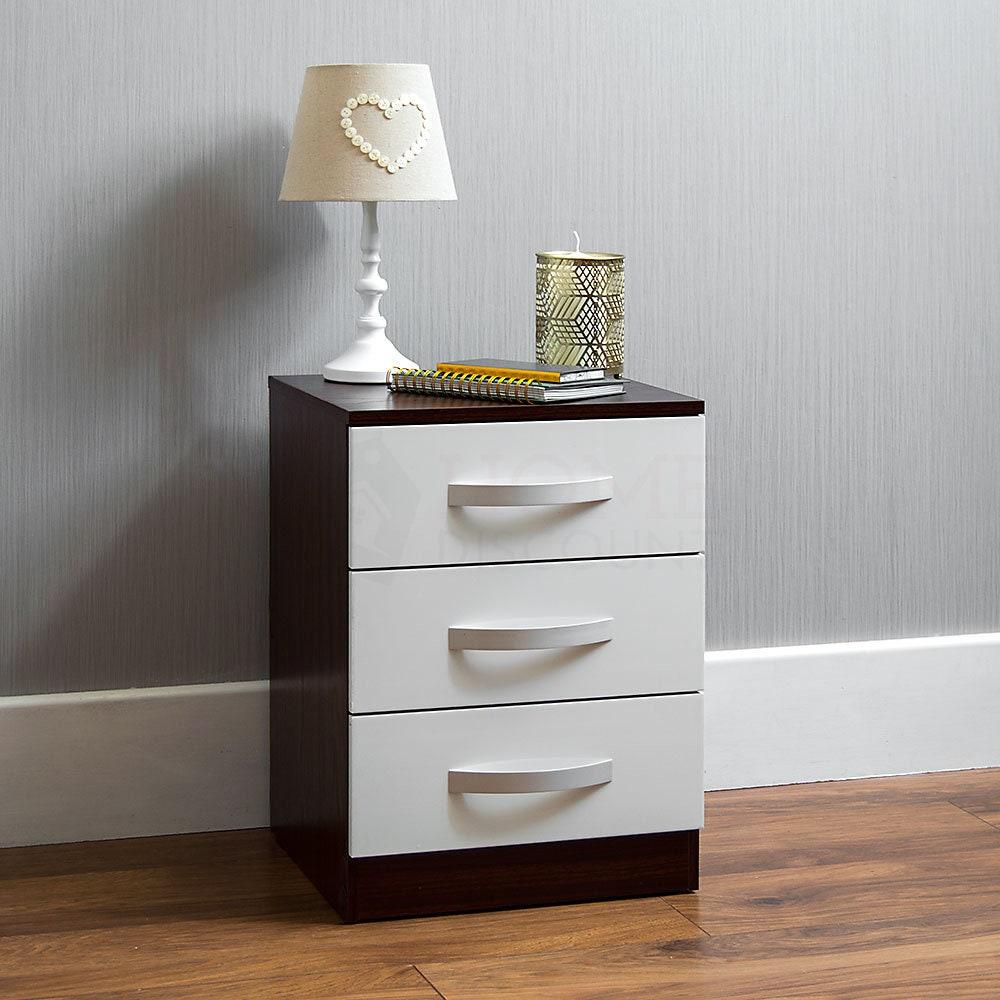 Hulio High Gloss Bedside Cabinet Truhe der Schubladen Walnuss  wei 3 Schublade Metall Griffe Lufer