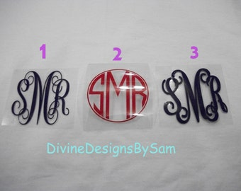 DIY Vinyl Heat Transfer Monogram With 3 Initials Choose From Regular or Glitter Your Choice of Font, Color and Size with Free Shipping
