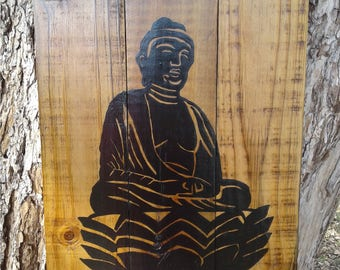 Buddha sitting on Lotus flower. Hand painted wall hanging on reclaimed fence wood.