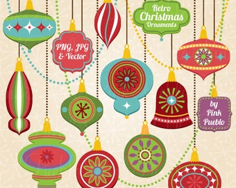 Retro Christmas Ornament Clipart Clip Art, Vintage Christmas Decorations Clipart Clip Art Vectors - Commercial Use