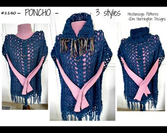 CROCHET PATTERN - PONCHO cape sweater, All sizes small to plus size, 3 styles included, #1140, women and teens clothing