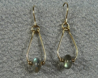 Gold-filled Labradorite Mini-Teardrop Earrings