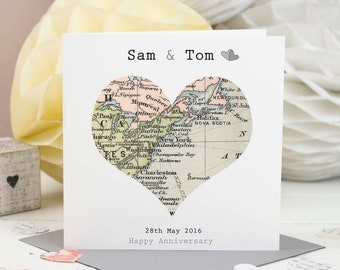 Special Location Map Card - Wedding Card - Personalised Wedding Map Card - Anniversary Card - Valentines Day Card  - Engagement Card