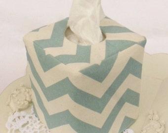 Spa Blue Chevron reversible tissue box cover