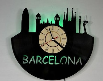 Barcelona Skyline green led night light, Barcelona vinyl record wall clock, Barcelona Gifts Ideas, Barcelona wall led light