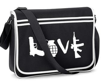 Banksy Style Love Guns Weapons Graffiti Street Art Shoulder Messenger Black Bag