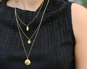 gold layered necklace / 3 strand necklace / multi strand necklace / 3 layered gold pendant necklace / necklaces for woman / multi strand