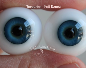 24mm - Turquoise - Lauscha German Glass Eyes - Full Round - Hollow