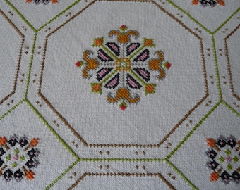 "Vintage Embroidered Table Cloth Orange Pink Green Cross Stitch Patterns 48"" Sq."