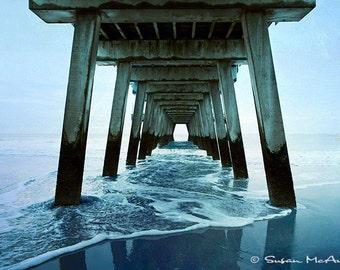 Dreamin, Coastal Color Art Photograph, Landscape Photograph, Pier Photograph, Home Decor, Wall Art, Photo, Blue, Brown, Ocean Photograph