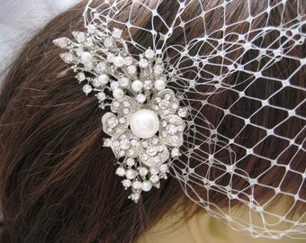 Wedding Birdcage Veil and a Bridal Pearl Hair Comb (2 Items) Pearl Bridal Hair Comb,Rhinestone Comb,Headpieces,  Weddings,Rinestone, Bridal