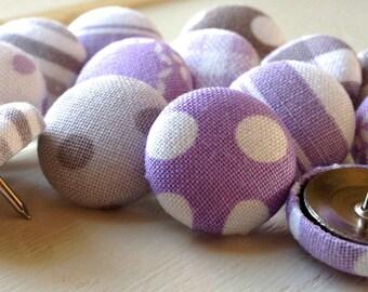 Lavender and Gray, 15 Push Pins,Pushpins,Thumbtacks,Thumb Tacks,Home Decor,Chevron Pushpins,Lavender and Gray Chevron,Purple Gray,Gift