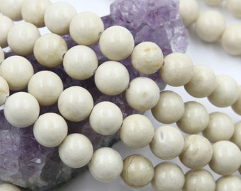Lot of 5 strands 10mm Ivory White Fossil Jasper (N) Loose Spacer Beads Round 15.5 inch strand (BD5941)