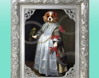 FRAMED Cavalier King Charles Spaniel Blenheim Girl 8 x 10 Print Whimsical Wall Art Anthropomorphic Anthro Dog Animal Wearing Clothes