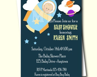 Rocket Baby Shower Invitation- Outer Space Printable Baby Shower Invitation- Rocket Babyshower Invite- Rocket Ship Invitation- DIY You Print